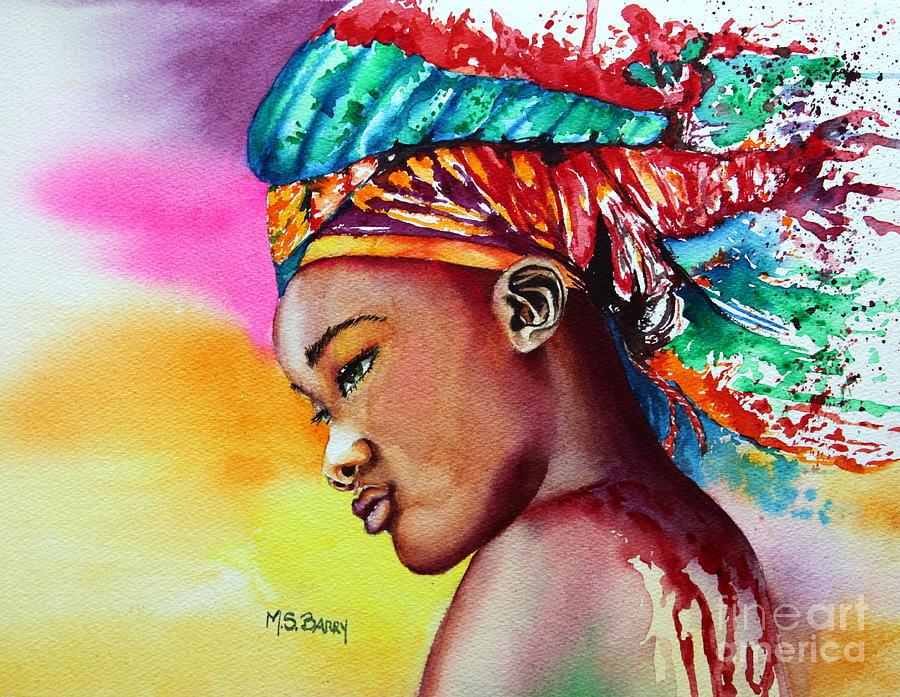 Black Girl Painting - Kenya by Maria Barry