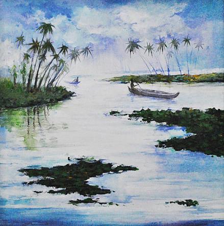Landscape Painting - kerala Backwater by Deepali Sagade