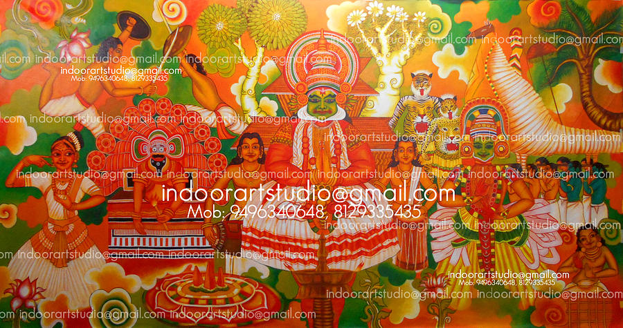 Kerala folk mural painting painting by indoor for Average cost of mural painting
