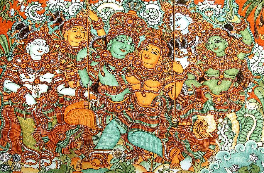 Kerala mural painting painting by pg reproductions for Buy kerala mural paintings online