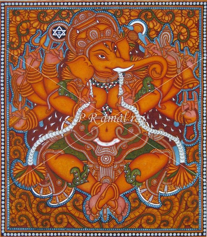 Kerala mural paintings painting by p r amalraj for Buy kerala mural paintings online