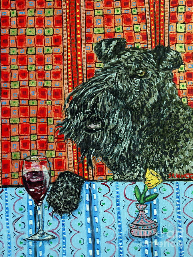 Kerry Blue Terrier Painting - Kerry Blue Terrier At The Wine Bar by Jay  Schmetz