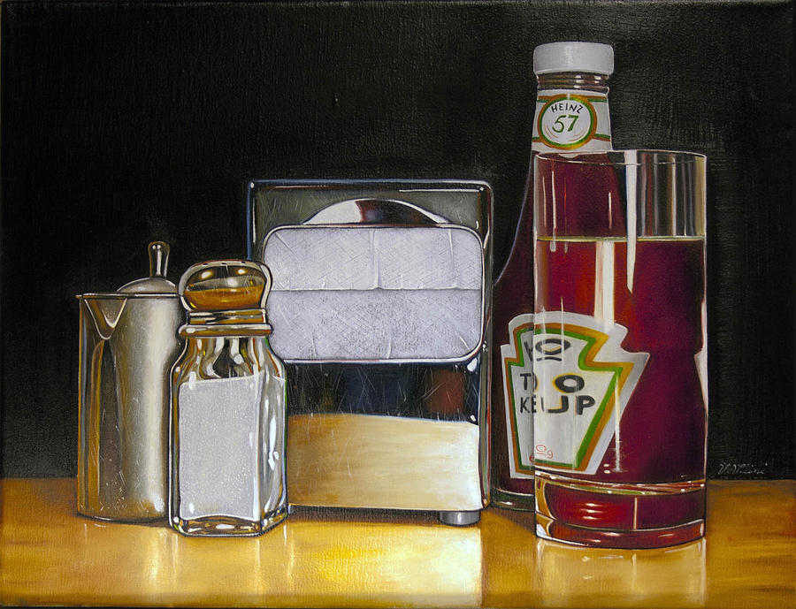 Ketchup and diner still life painting by vic vicini for Diner painting