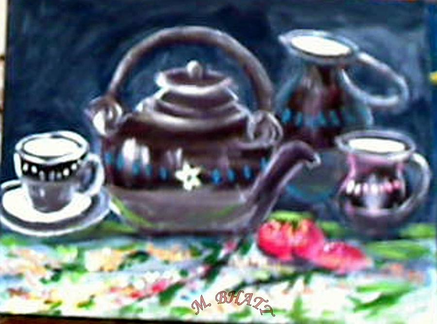 Still Life Painting - Kettle Set by M bhatt