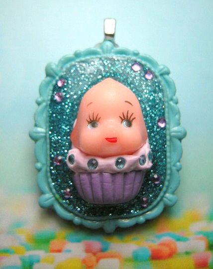Polymer Clay Jewelry - Kewpie Cupcake Cameo by Razz Ace