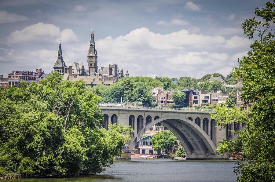 Key Bridge Photograph - Key Bridge And Georgetown University by Bradley Clay