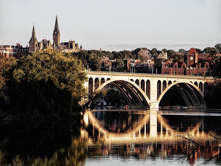 Key Photograph - Key Bridge And Georgetown University Washington Dc by Bill Cannon