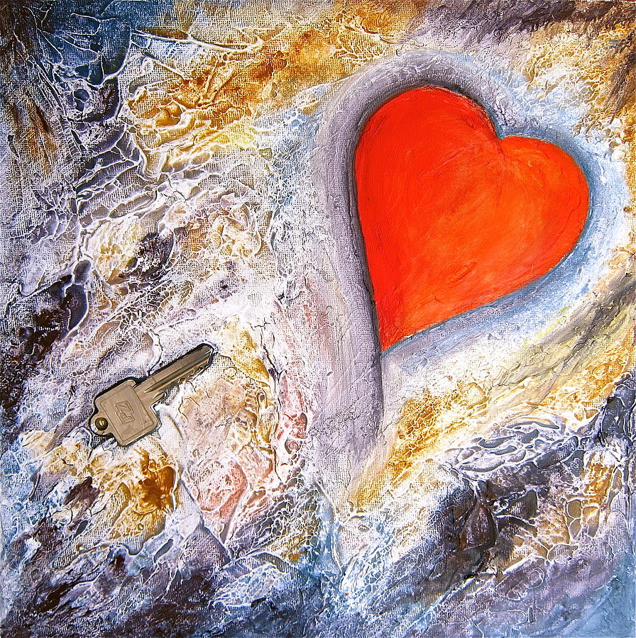 Valentine Painting - Key To My Heart by Heather Matthews