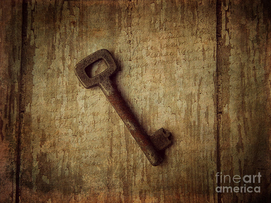 Antique Key Photograph - Key To My Secret by Lorraine Heath
