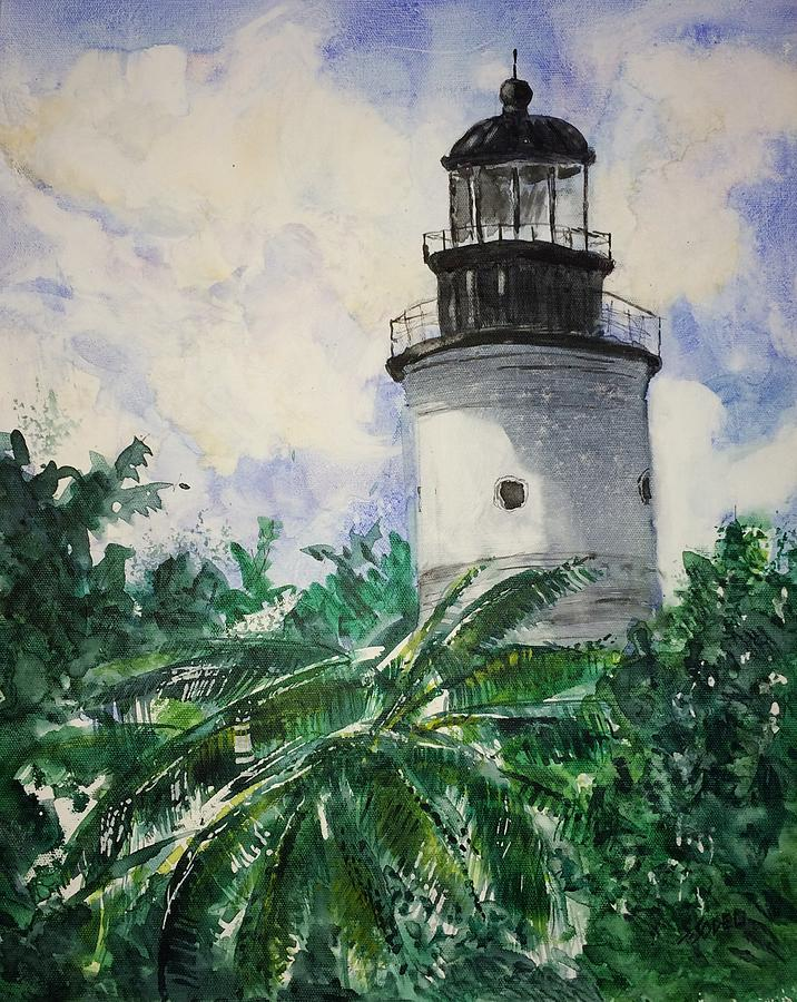 Tropical Painting - Key West Light by Stephanie Sodel