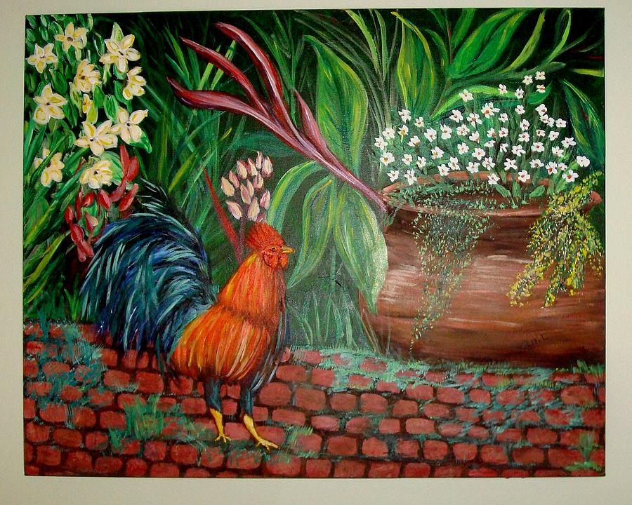 Potted Plants Painting - Key West Rooster by Patti Lauer