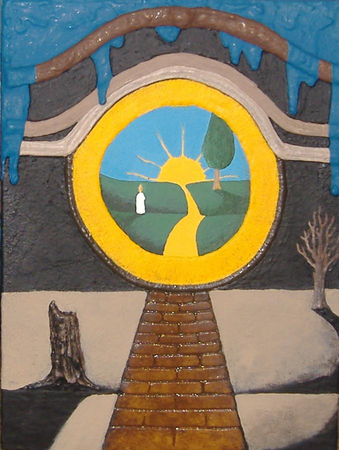 Yellow Brick Road Painting - Keyhole by Steve  Hester