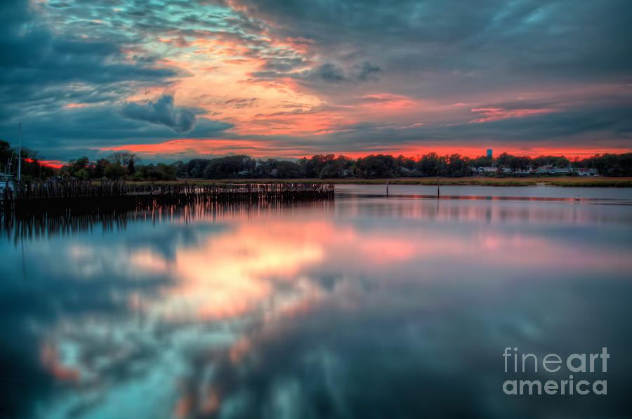 Hdr Photograph - Keyport Nj Sunset Reflections by Michael Ver Sprill
