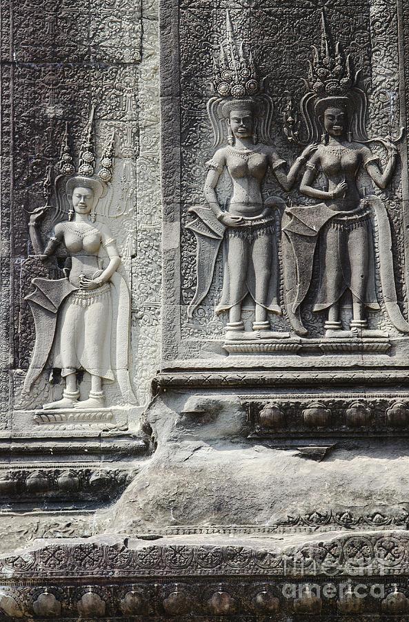 Khmer stone carvings angkor wat cambodia photograph by jacek
