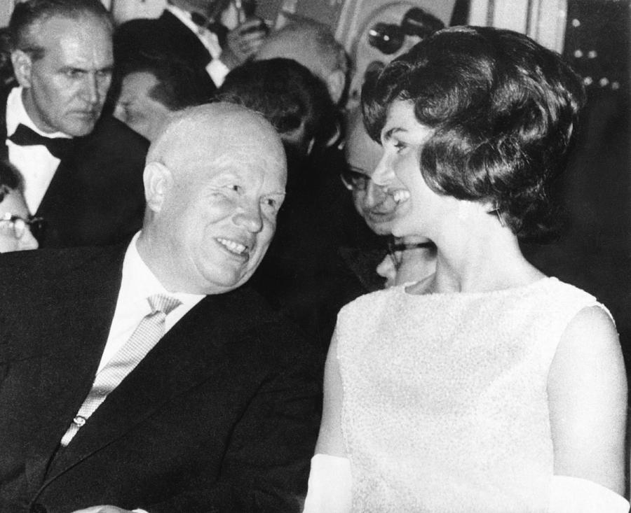 1950's Photograph - Khrushchev and Jackie Kennedy by Underwood Archives