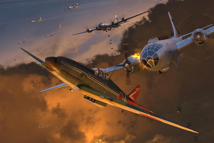 Japanese Digital Art - Ki-61 Hien vs. B-29s by Robert Perry