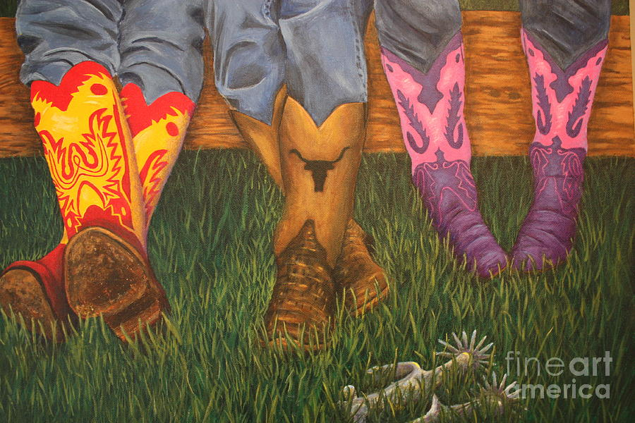 Cowboy Boots Painting - Kickin Back by Terri Maddin-Miller