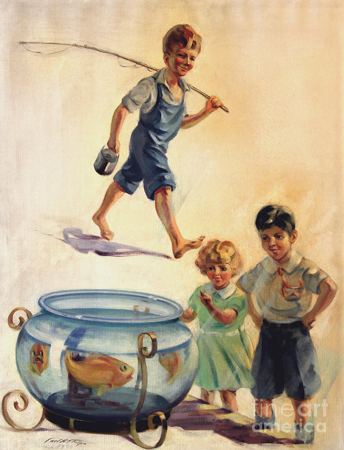 Kids and Fishing  1934 by Art By Tolpo Collection