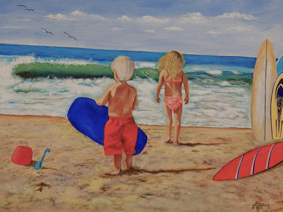 Seascape Painting - Kids at the Beach by Jim  Reale