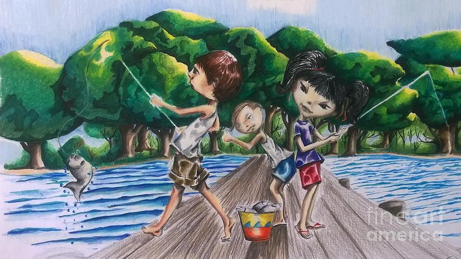 Kids Gone Fishing Drawing