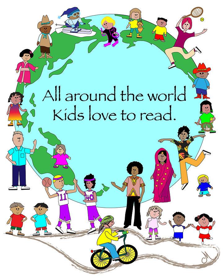 Happy Digital Art - Kids Love To Read by Chris Morningforest