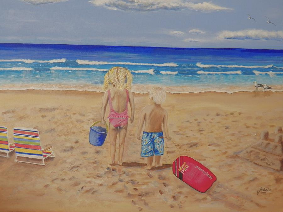 Kids Painting - Kids on the beach by Jim  Reale