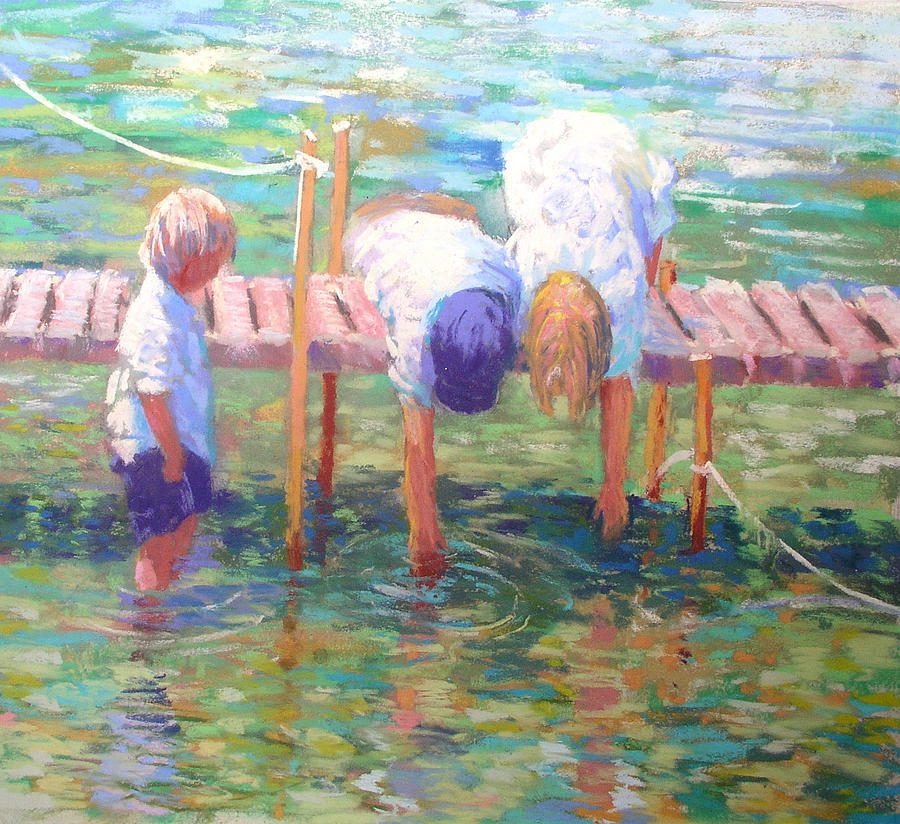 Children Playing Painting - Kids On The Jetty by Jackie Simmonds