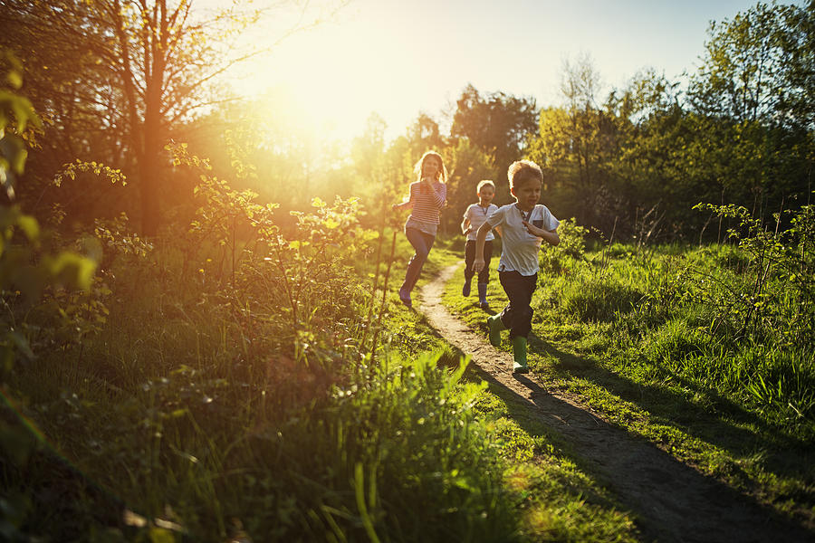 Kids Running In Nature. Photograph by Imgorthand