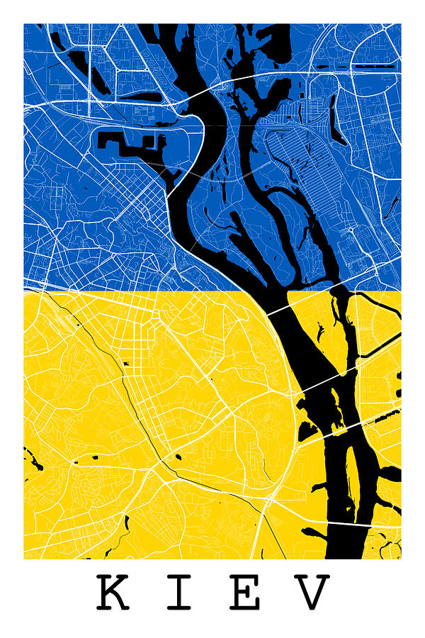 Kiev Street Map Kiev Ukraine Road Map Art On Flag Digital Art by