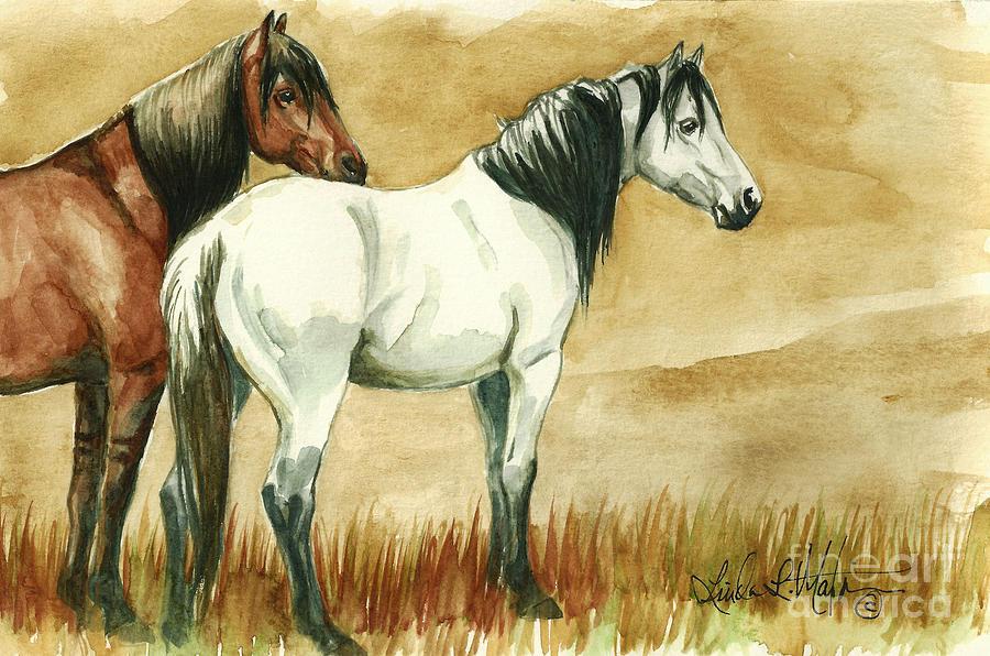 Kiger Painting - Kiger Mares by Linda L Martin