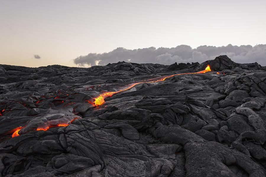 Lava Flow Photograph - Kilauea Volcano 60 Foot Lava Flow - The Big Island Hawaii by Brian Harig