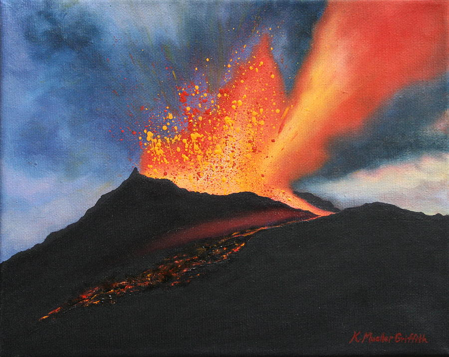 Kilauea Volcano Painting By Kristine Mueller Griffith