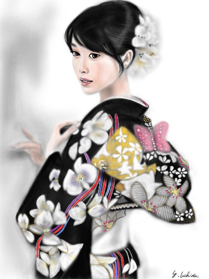Ipad Painting Painting - Kimono Girl No.1 by Yoshiyuki Uchida