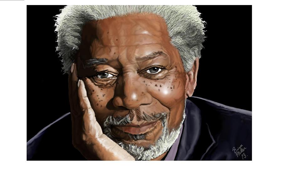 Freeman Painting - Kind Face Morgan Freeman by Brien Miller