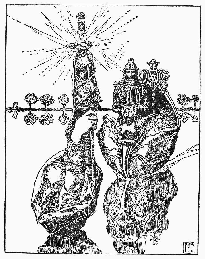 Adrift Drawing - King Arthur, 1903 by Granger