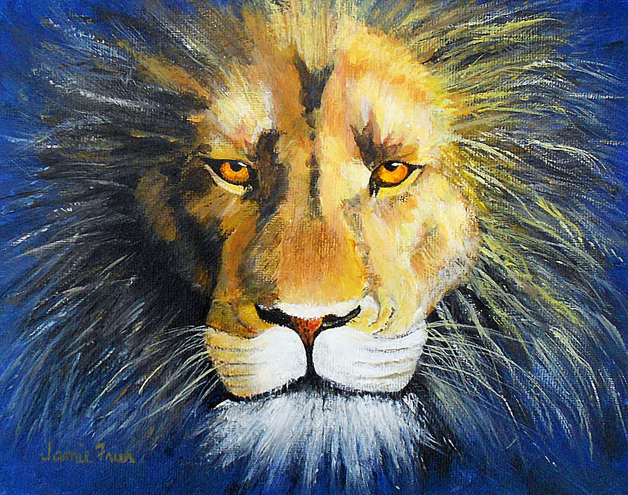 Lion Painting - King Cat by Jamie Frier