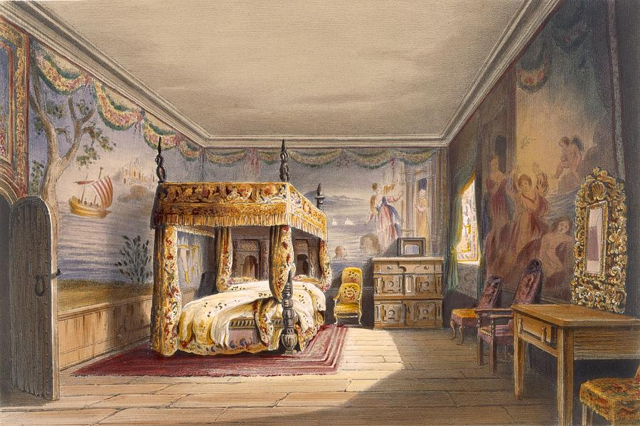 Interior Drawing - King Charles Room, Cotehele House by English School