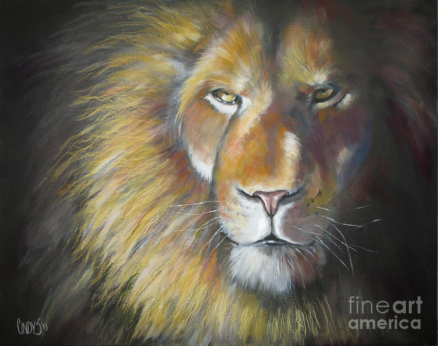 Lion Painting - King by Tamer and Cindy Elsharouni
