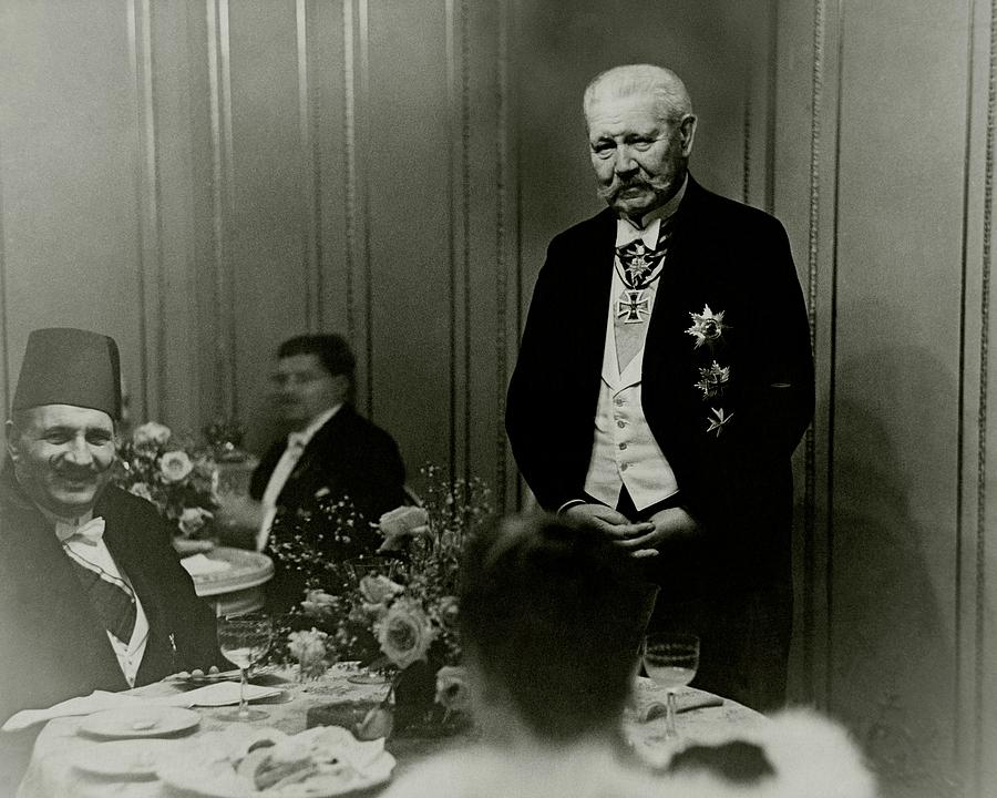 King Fuad And Paul Von Hindenburg At A Dining Photograph by Erich Salomon