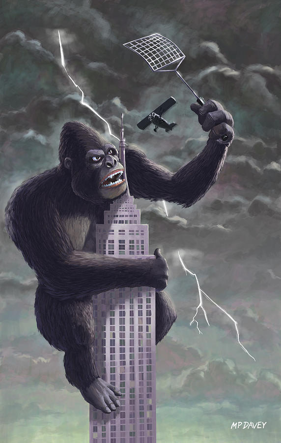 Kong Painting - King Kong Plane Swatter by Martin Davey