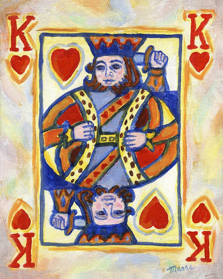 Card Painting - King of Hearts by Linda Mears