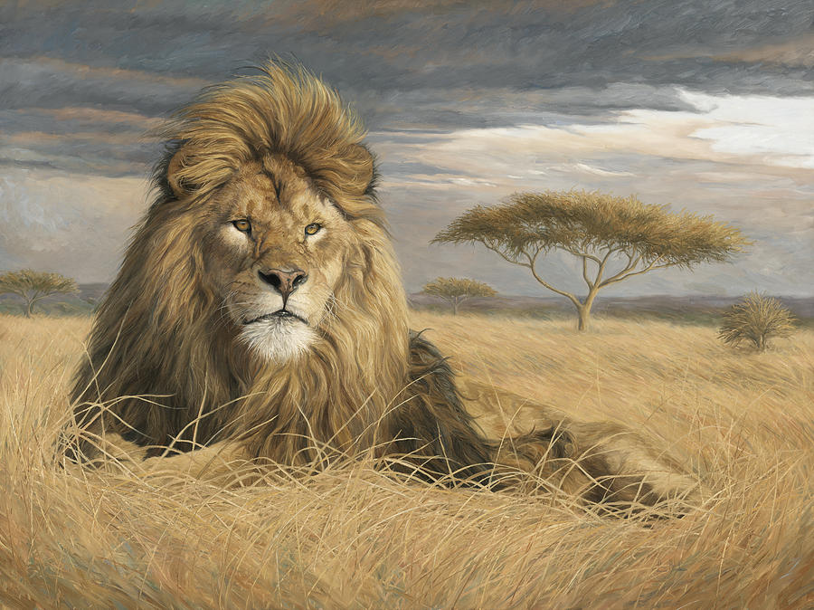 Lion Painting - King Of The Pride by Lucie Bilodeau
