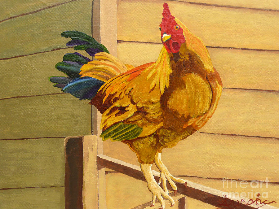 Rooster Painting - King Of The Roost by Anthony Dunphy