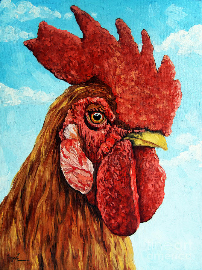 Rooster Painting - King Of The Roost by Linda Apple
