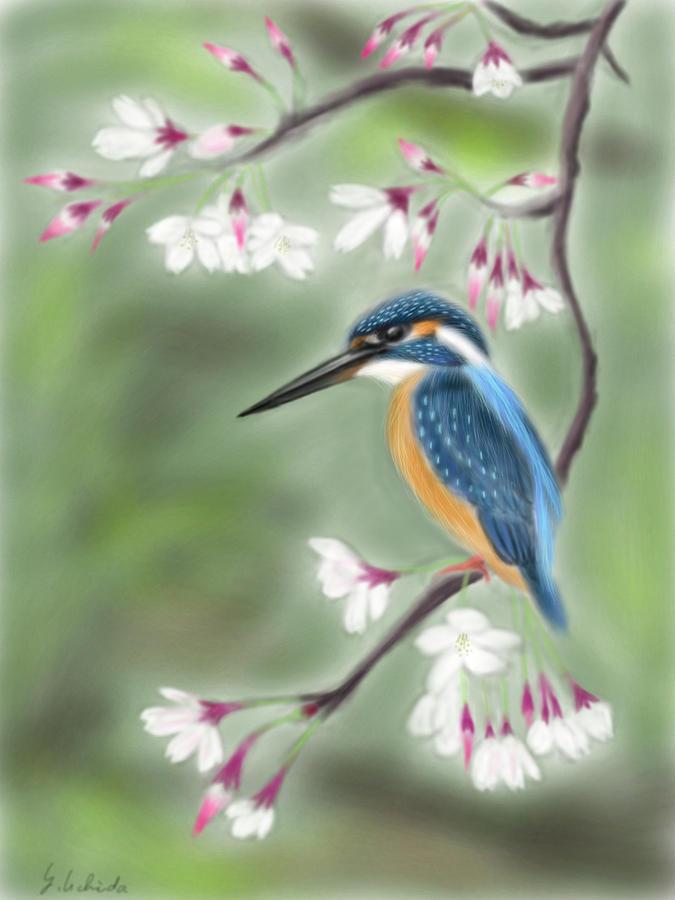 Ipad Painting - Kingfisher 19 by Yoshiyuki Uchida