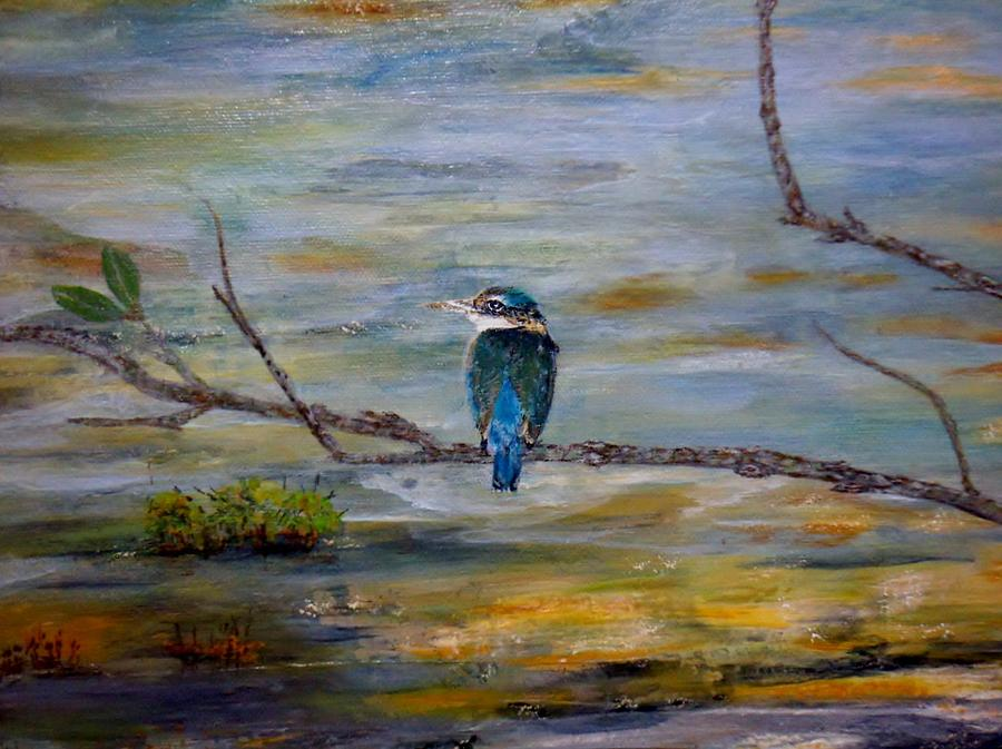 Kingfisher Over Estuary Painting by Chris Keenan
