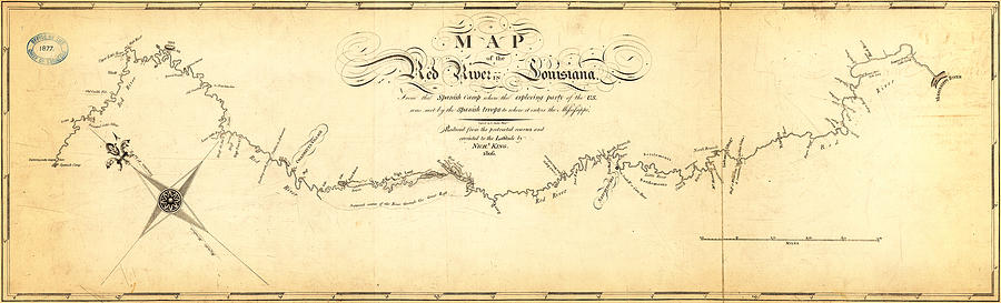 Poster Painting - Kings Map Of The Red River In Louisiana 1806 by MotionAge Designs
