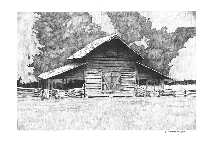 Pen And Ink Drawing - Kings Mountain Barn by Paul Shafranski