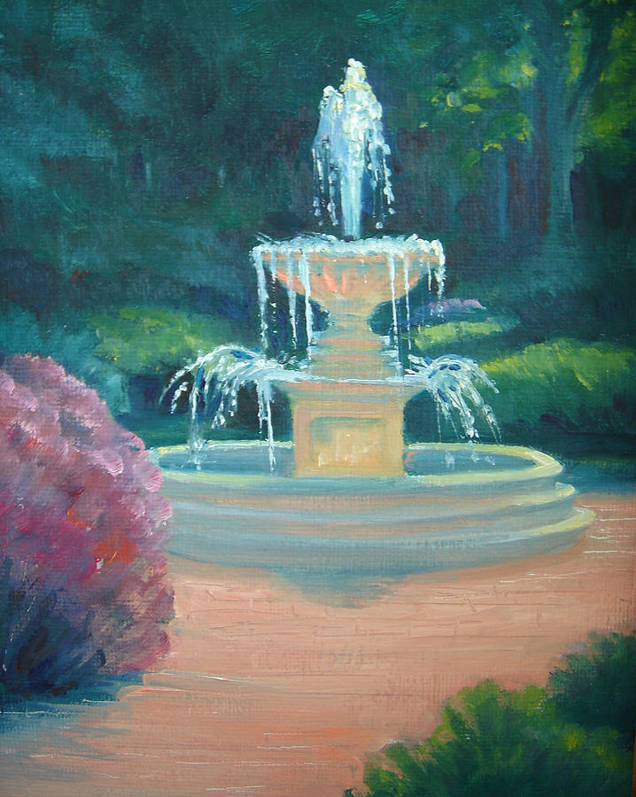 Kingwood Painting - Kingwood Fountain Sparkles by Judy Fischer Walton