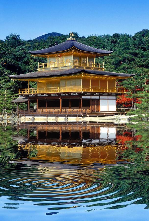 Kinkakuji Photograph - Kinkakuji Gold Pavilion Reflection by Robert Jensen